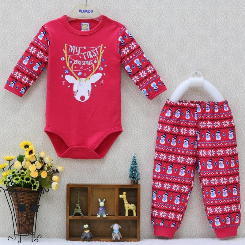 Küçük Q bebek tek parça Bodysuits ve uzun pantolon giyim seti noel yenidoğan giysileri erkek 2 adet/grup bahar sonbahar kostüm