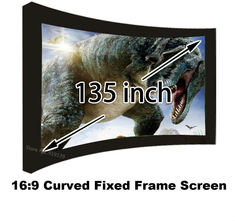 Clear Image Big Size Cinema Screen 135 Inch Big Size 16:9 Curved Fixed Frame Wall Mounted Projection Screens AliExpress Sale hot selling 84 inch 16 9 format fast quick fold projector screen for many size front and rear projection screen