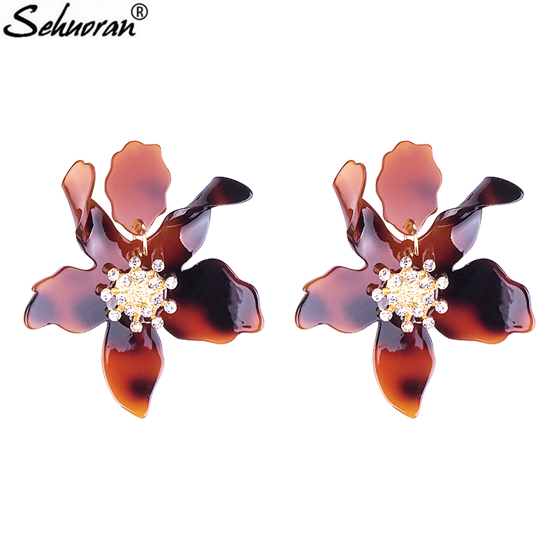 Sehuoran Resin Aretes Brincos Pendients Drop Earrings For Woman Flower Pendantes Boho Big Earrings Fashion Jewelry Brand JewelrySehuoran Resin Aretes Brincos Pendients Drop Earrings For Woman Flower Pendantes Boho Big Earrings Fashion Jewelry Brand Jewelry