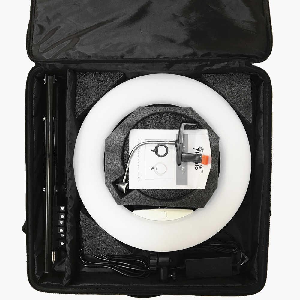 "Yidoblo الأبيض FD-480II 18 ""استوديو عكس الضوء LED حلقة مصباح مجموعات 480 LED الفيديو الضوئي مصباح الإضاءة التصوير الفوتوغرافي + حامل (2 متر) + حقيبة"