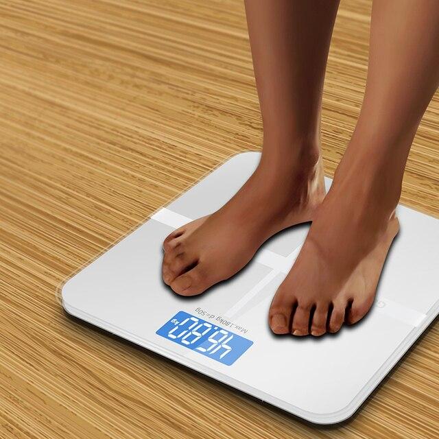 A1 dokładne oferty, łazienka waga inteligentny elektroniczny cyfrowy waga domu zdrowie równowaga szkło hartowane wyświetlacz LCD 180 kg/50g