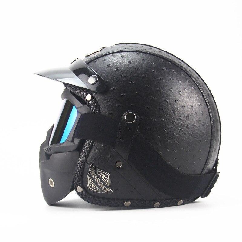 Кожа Harley шлемы 3/4 Мотоциклов Чоппер Велосипед Шлем открытое лицо старинных мотоциклов шлем с, маска мотокросс