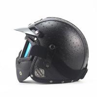 Brand Black Adult Leather Harley Helmets For Motorcycle Retro Half Cruise Helmet Prince Motorcycle Helmet