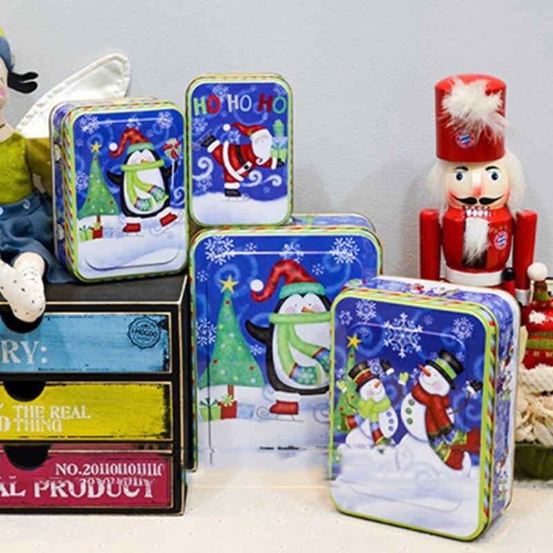 4 Pcs Set Christmas Supplies Bags Square Cylindrical Cartoon Tin Box Printed Santa Claus Receive Box