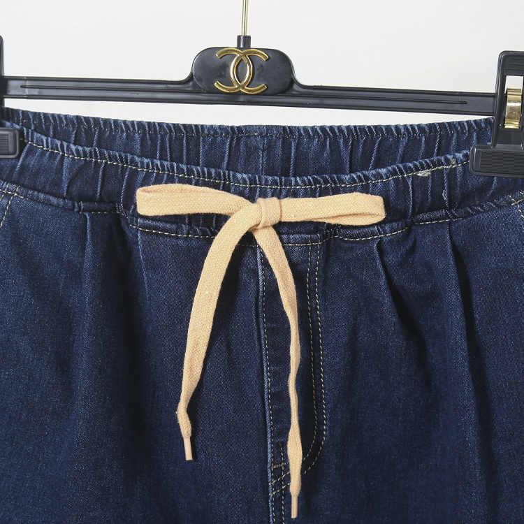 LKGHULO Для женщин Большие джинсы модные эластичные синий Высокая Талия Повседневное шаровары джинсы женские хлопковые штаны свободного кроя 5XL A363