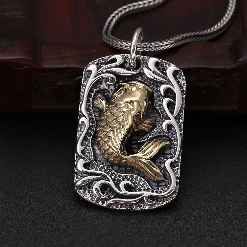 Pur 925 en argent Sterling carpe pendentif hommes Thai argent Vintage collier pendentif bijoux fins cadeaux accessoires de mode accrocher des étiquettes