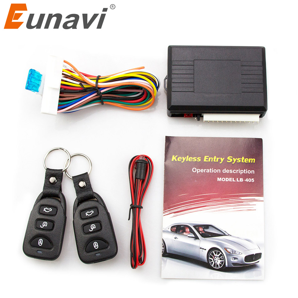 Eunavi Universal Car Alarm Systems Auto Remote Central Kit Door Lock Keyless Entry System Central Locking with Remote Control