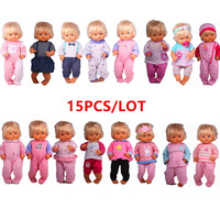 Wholesale Doll Clothes Fit 41cm Nenuco Accesorios Nenuco y su Hermanita 15PCS /lot Different Styles Outfits Best DIY Girls Toys