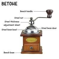 Betohe clássico de madeira mini moedor de café manual retro café spice mill mão moedor de feijão de café