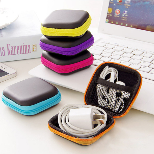 Hot Mini Zipper Hard Headphone Case PU Leather Earphone Storage Bag Protective USB Cable Organizer, Portable Earbuds Pouch box(China)
