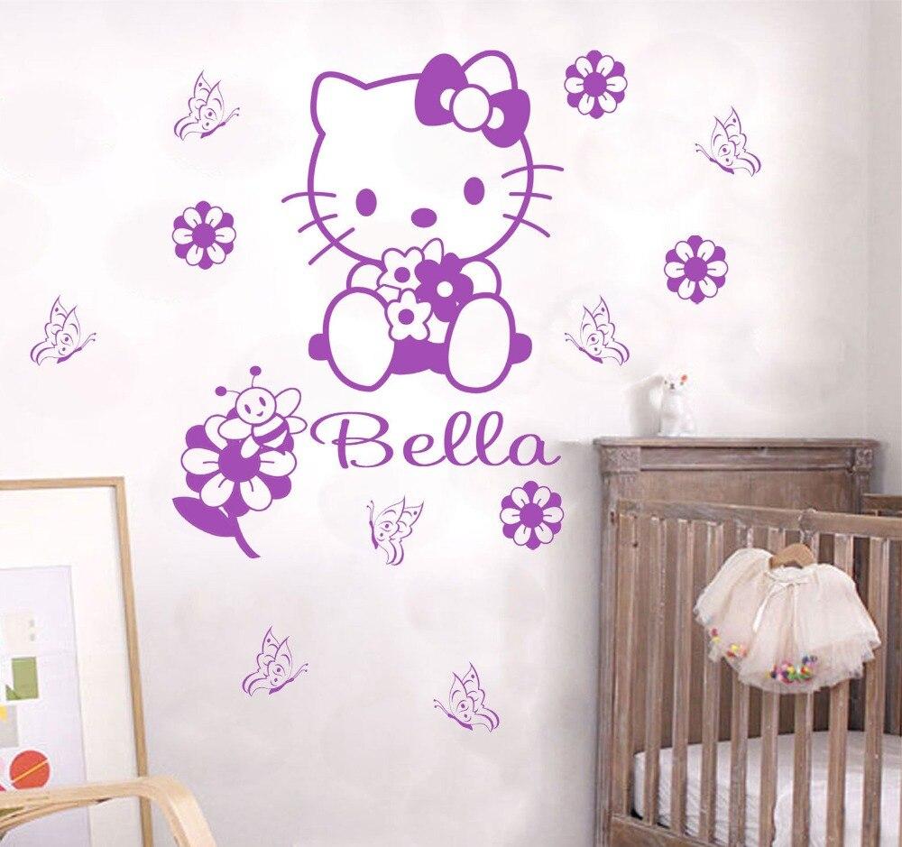 aliexpress : buy custom name cartoon hello kitty wall sticker