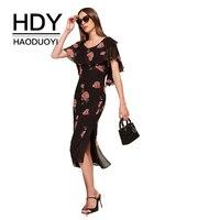 HDY Haoduoyi Apparel Fashion Summer Women Dress Casual Floral Printed Female A Line Ruffles Dress Midi