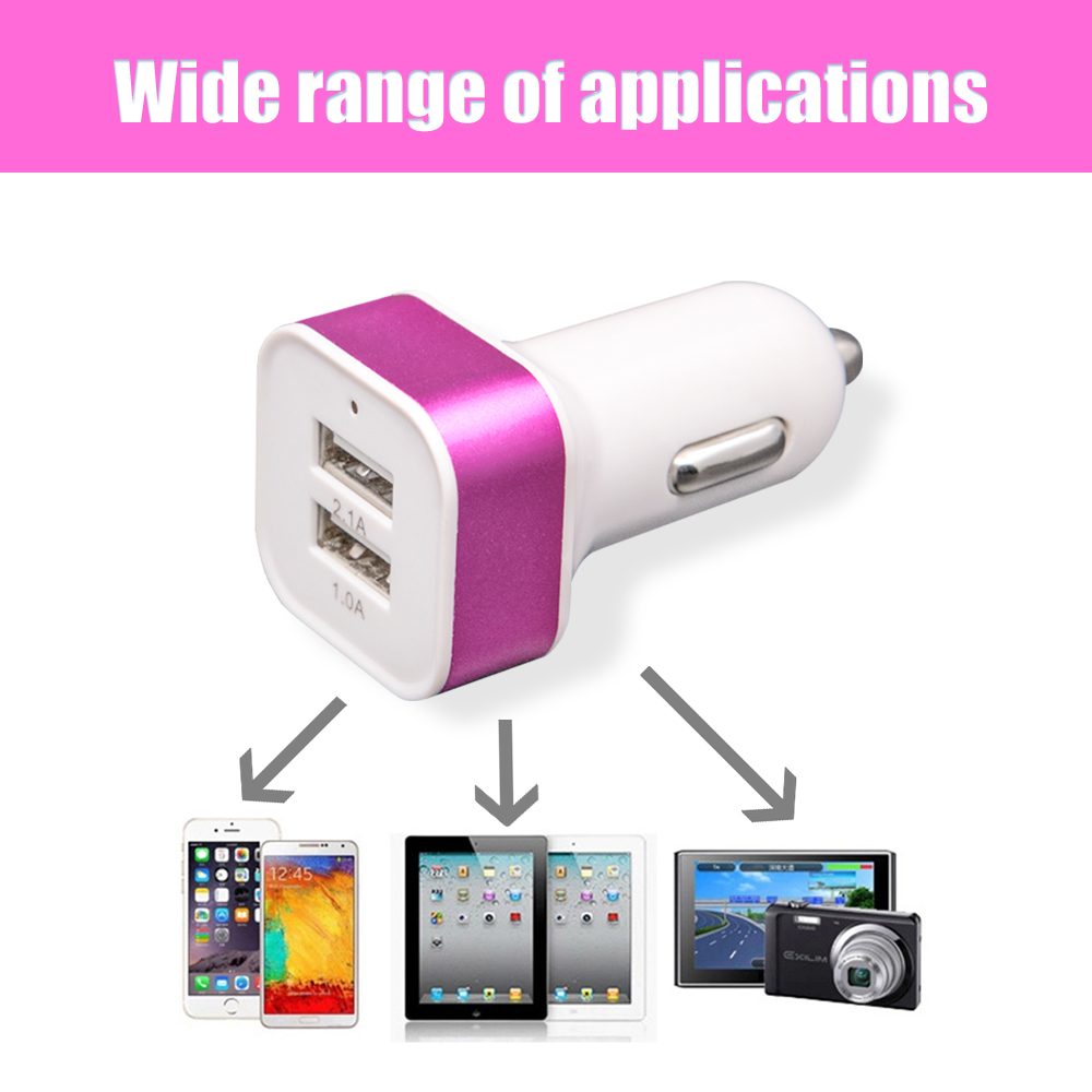 Hot!! Triple Universal USB Car Charger Adapter 5V 2 Port 2.1A 1.0A For IPhone Ipad Samsung Xiaomi Huawei Meizu Zte Oppo HTC