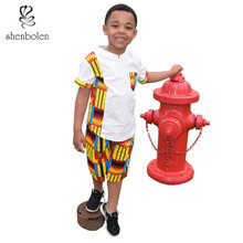 African Children Clothing For boy african summer wear Ankara Shirt Tradition Tops+Pant sets Cool kids Clothes
