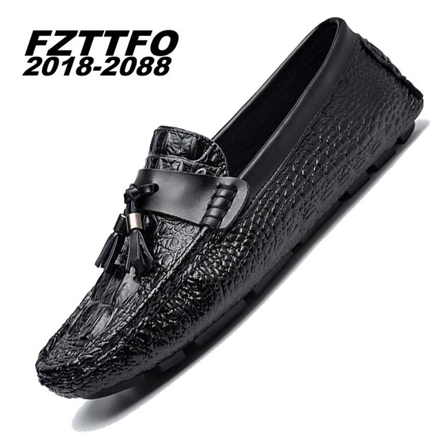 Men Genuine Suede Leather Driving Shoes,FZTTFO 2018-2088 Handmade Casual Shoes,Brand Designer Flats Loafers For Men K473