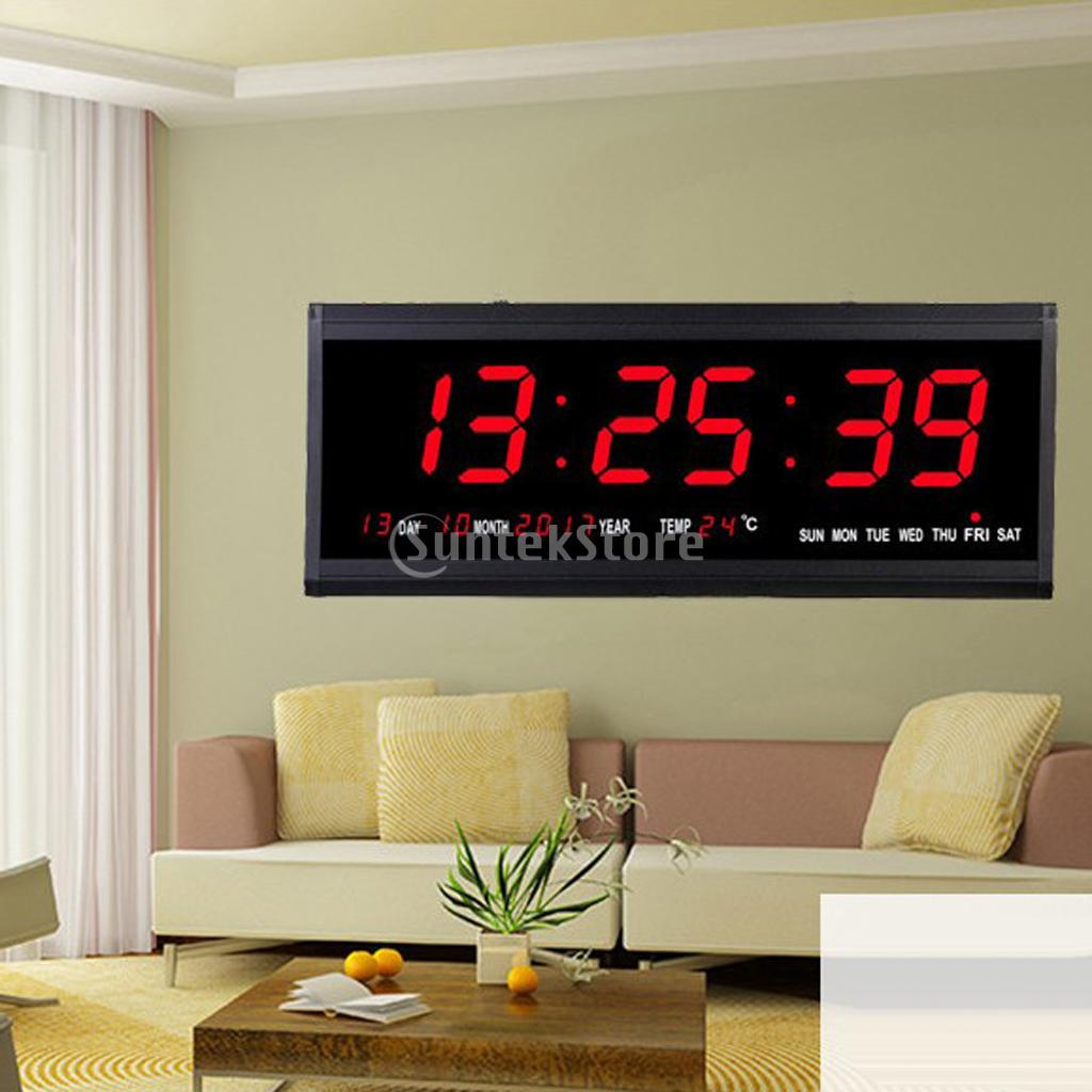 15Inch Large Screen Led Clock With Indoor Temperature Projection Applicable For Home Office Hotel EU