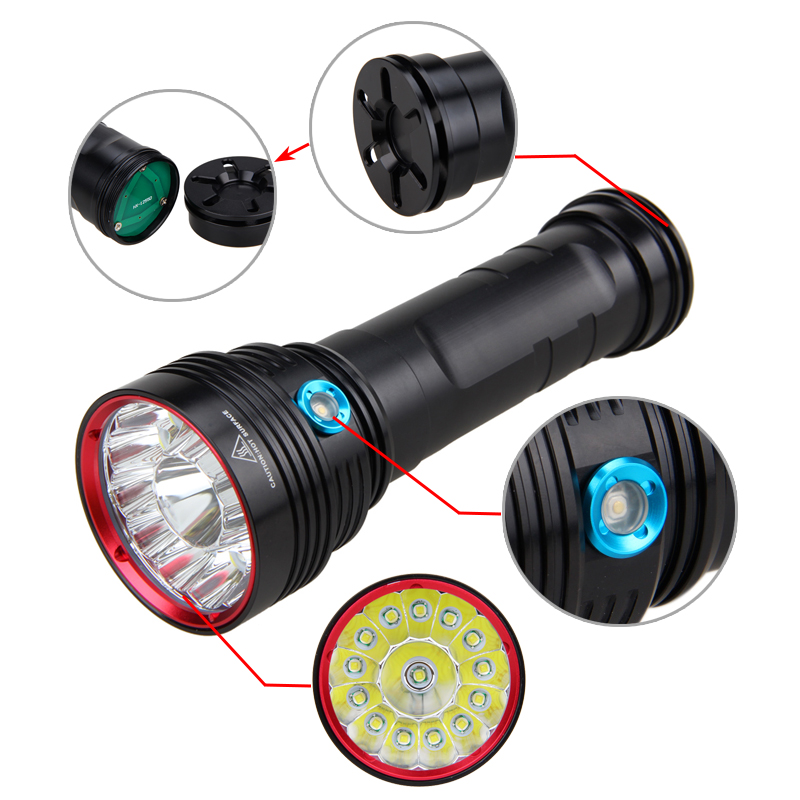 Ultrabright 40000Lm 14xXML T6 LED Flashlight Tactical Hunting Torch 3 Modes Lamp for Outdoor Camping Only Light explorer bo 3xcree xm l t6 4000lm powerful led flashlight 3 modes tactical flashlight torch light 4x18650 hunting camping