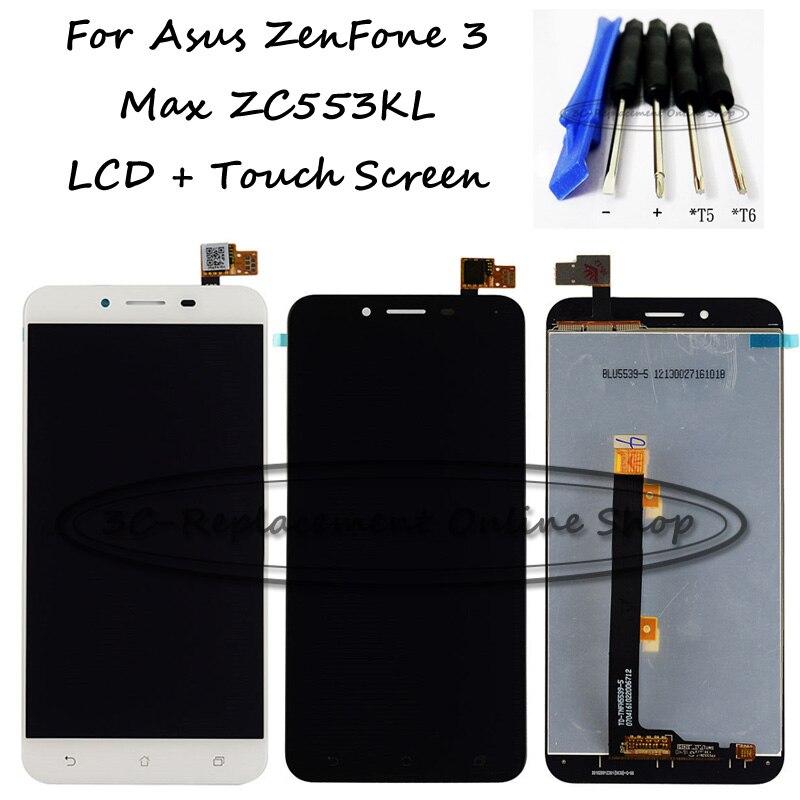 imágenes para Negro/blanco 5.5 pulgadas para asus zenfone 3 max zc553kl pantalla lcd + pantalla táctil digitalizador asamblea reemplazo herramientas gratuitas