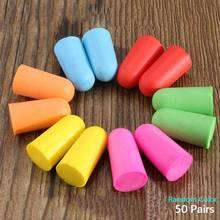 50 пар/лот мягкая пена затычки для ушей шумоизоляция наушники с шумоподавлением набор для путешествия сна для анти-интерференского шума