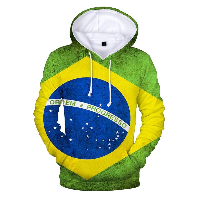 Top Quality Men Women Brazil National Flag Printed Hoodie Hip Hop Men Patriotic Hoodie Drawstring Pocket Men Hooded Sweatshirt