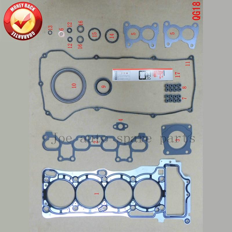 Kit completo Do Motor junta conjunto Completo para Nissan Almera QG18DE/Sentra/Ensolarado 1.8L 1769cc 2000-50218900 10101-4M726 10101-4M728