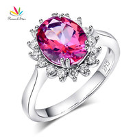 Peacock Star 14K White Gold Wedding Engagement Ring 2 8 Ct Pink Topaz 0 35 Ct
