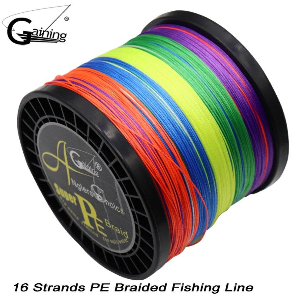 Ligne de pêche de marque gagnante ligne de PE tressée 16 brins 1000 m multicolore Super forte ligne de tresse de PE Multifilament du japon 59LB-308LB