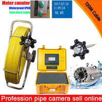 Big Size Pipe Waterproof Plumbing Inspection Camera Robot 9mm cable Sewer Line Detection 120m Cable with DVR meter counter