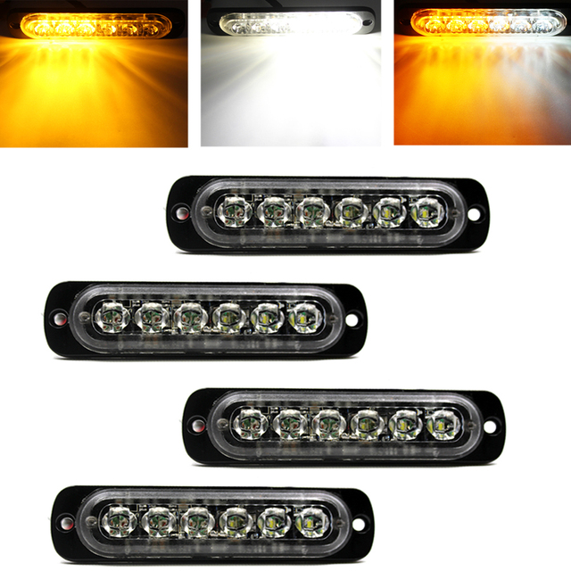 4pcs car styling 6 led car truck strobe light bar white amber 4pcs car styling 6 led car truck strobe light bar white amber emergency hazard warning aloadofball Image collections