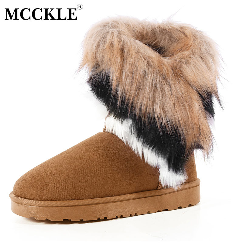 MCCKLE Women Snow Boots Plus Size Faux Fur Winter Woman's Ankle Booties Female Casual Footwear Platform Shoes Drop Shipping winter 2016 womens boots big size handmade rhinestone studded flat shoes woman platform faux fur snow boots casual ankle booties