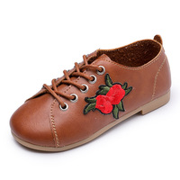 2017 Autumn New Children Shoes Girls Shoes Fashion Embroidery Lace Up Princess Flat Brown PU Leather Shoes Kids Casual Shoes
