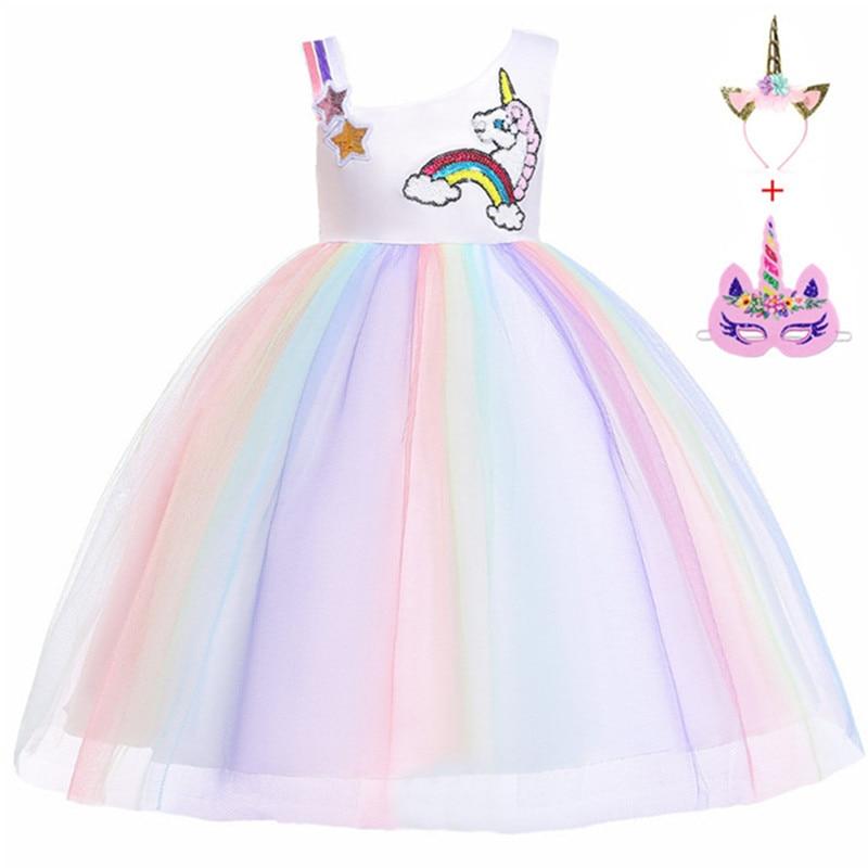 Flower Girls Unicorn cosplay Dress Children Kids Halloween Unicorn clothes Children's day Princess Girls Birthday Party Dress