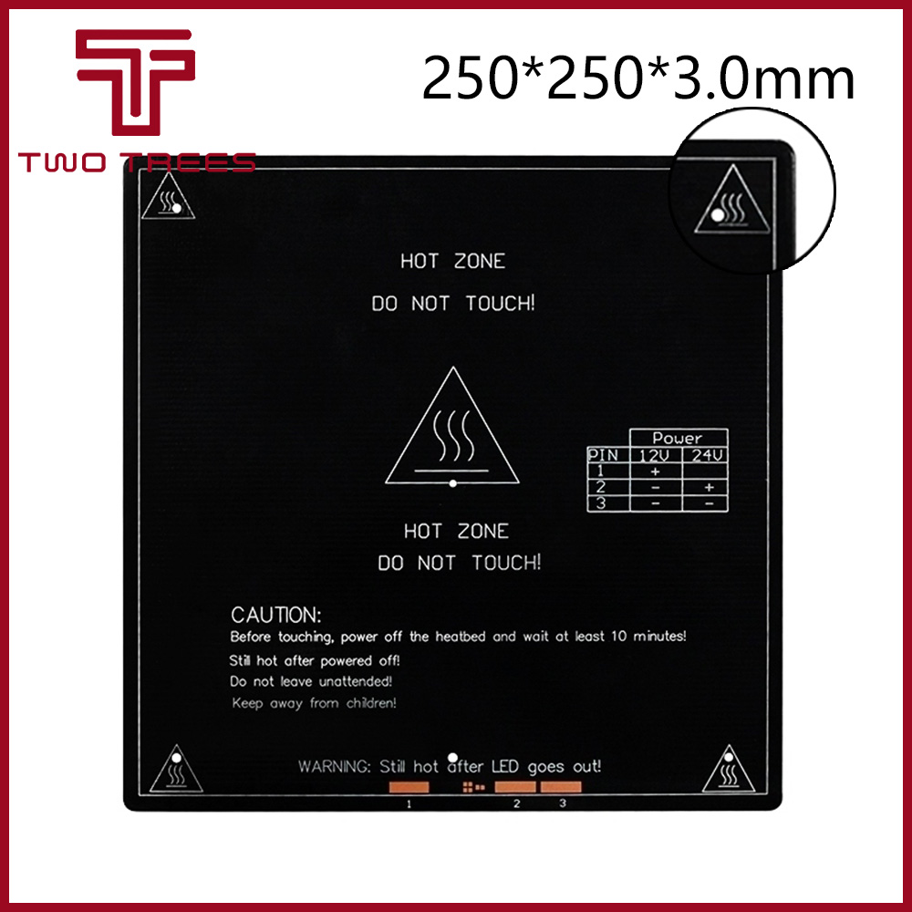 250*250*3mm 250x250mm Large Area Printing Size 12/24V Double Voltage Heating Hot Bed Heated Bed Plate 3D Printer Accessories