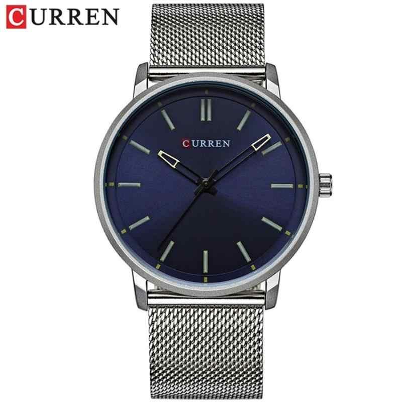 CURREN שעונים גברים אופנה למעלה יוקרה מותג Ultra דק חיוג נירוסטה רשת רצועת קוורץ שעון גבר שעון Relogio Masculino