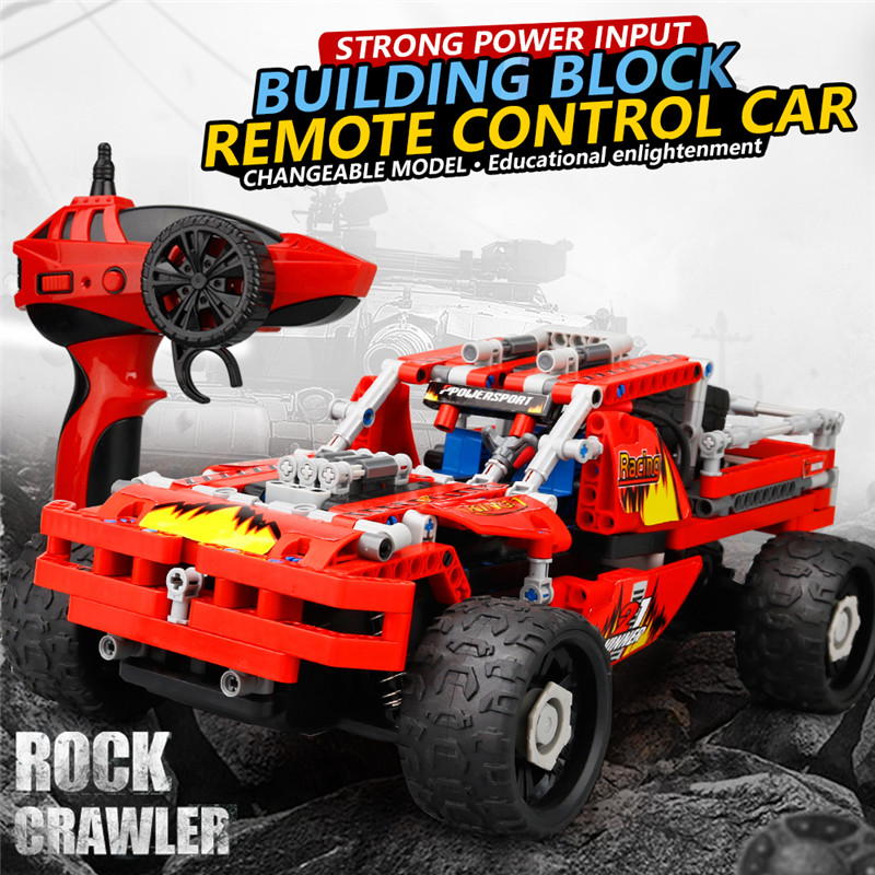 все цены на 2018 RC Car Kids Toy DIY Block Remote Control Off Road Remote Control Vehicle Educationl Toys Best Gifts For Children