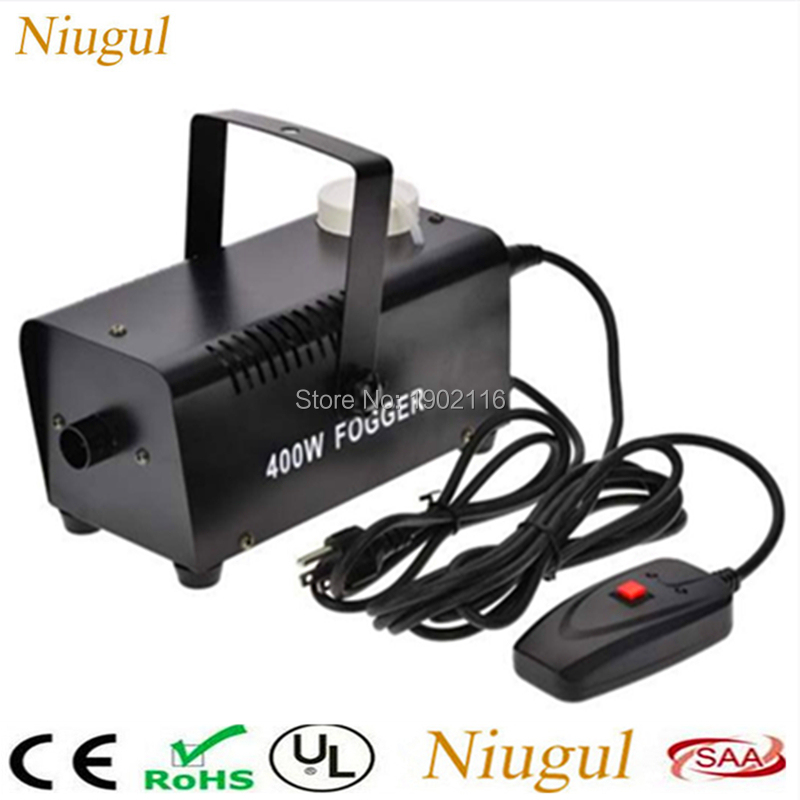 Niugul Mini 400W Wire Control Fog Machine Pump DJ Disco 400W Smoke Machine For Home Party Wedding Christmas Stage Fogger Machine niugul 1500w fog machine smoke machine stage mist effect 110v 240v remote wire control for disco dj party spray up fogger maker