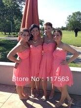 Real sample!Promotion a line sweetheart pleats knee length coral chiffon bridesmaid dress brides maid dress BD060