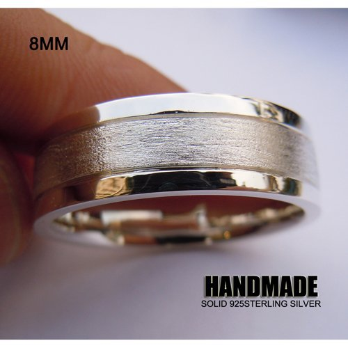 Solid 925Sterling Silver 8mm Mens Wedding Band Ring цена