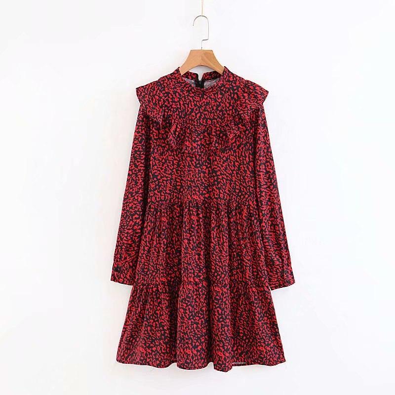 2018 Women Vintage Long Sleeve Red Leopard Print Mini Dress Elegant Ladies Ruffles Vestidos Chic Casual Slim Party Dress DS1151
