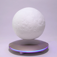 3D Print Magnetic Suspension Moon Lights Color Change Bedroom Bookcase Night Lamps Home Decor Creative Gift