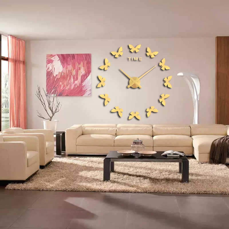 2019 muhsein New Wall Stickers Home Decor Poster Diy Europe Acrylic  3d Large Mirror  Life Wall Clock Horse Butterfly Free Ship