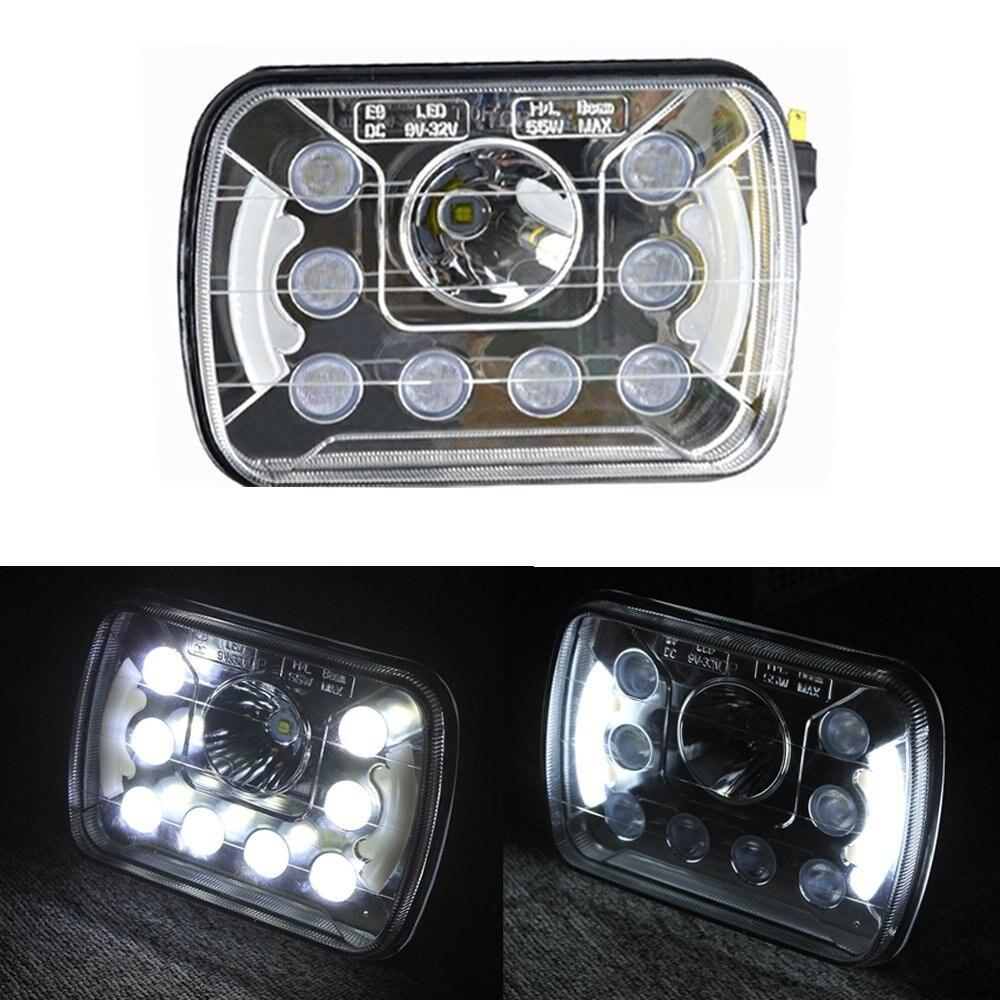 On Sale ! 5x7 inch 55W High Low Beam Led Headlights For Wrangler YJ Cherokee XJ Trucks 4X4 Offroad with Angel Eyes DRL(Pair) 5 x7 6 x7 high low beam led headlights for jeep wrangler yj cherokee xj h6054 h5054 h6054ll 69822 6052 6053 with angel eye