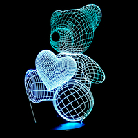 Cartoon Cute Heart Bear Hold Heart Shape Acrylic LED Lamp 3D Night Light For Baby Children