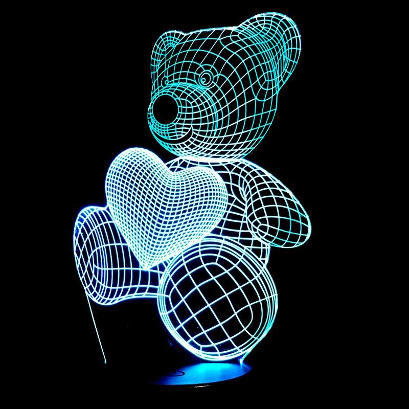 Bande dessinée Mignon Coeur Ours Attente Coeur Forme Acrylique LED Lampe 3D Lumière de Nuit Pour bébé enfants de Couchage Éclairage