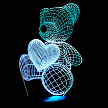 Cartoon Cute Heart Bear Hold Heart Shape Acrylic LED Lamp 3D Night Light For baby children Sleeping Lighting