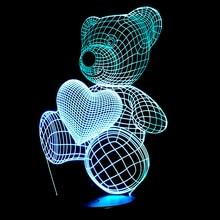 Cartoon Cute Heart Bear Hold Heart Shape Acrylic LED Lamp 3D Night Light For baby children Sleeping Lighting
