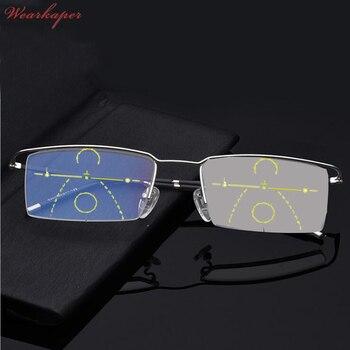 36a900f46b WEARKAPER Anti-Blu-ray aleación de titanio sol progresivo fotocrómico gafas  de lectura hombres con gafas de dióptero multifocales 1,0- 3,0