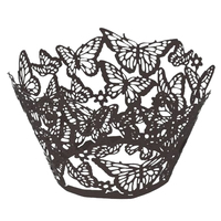SZS Hot 100 pcs Original Design of Butterflies Cupcake  pers 15 Popular Colours UK seller(Dark gray) Best Selling