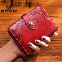 SHANSHUI Lady Snap Fastener Short Clutch Genuine Leather Wallet Zipper Coin Pocket Card Holder Female Purse