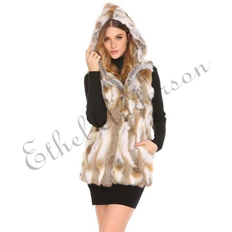 Ethel Anderson Real Rabbit Fur Long Vest Women's Hooded Rabbit Fur Jacket Overcoat